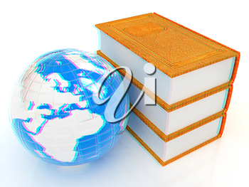 leather real books and Earth. 3D illustration. Anaglyph. View with red/cyan glasses to see in 3D.