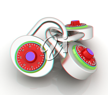 pad lock. 3D illustration. Anaglyph. View with red/cyan glasses to see in 3D.