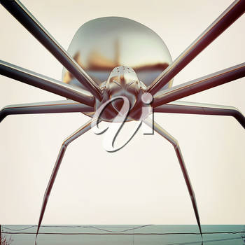 chrome spider.Close-up on a white background. 3D illustration. Vintage style.