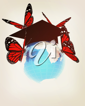 Global Education with red butterflies isolated on white background . 3D illustration. Vintage style.