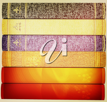 The stack of books on a white background. 3D illustration. Vintage style.