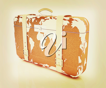 suitcase for travel on a white background. 3D illustration. Vintage style.