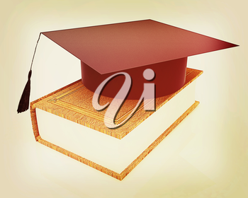Graduation hat on a leather book on a white background. 3D illustration. Vintage style.