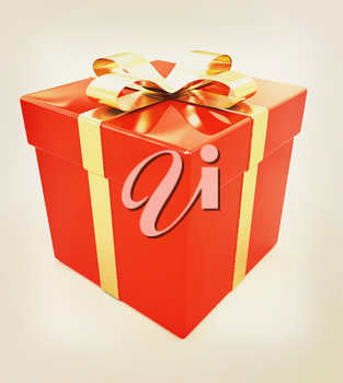 Bright christmas gift on a white background. 3D illustration. Vintage style.