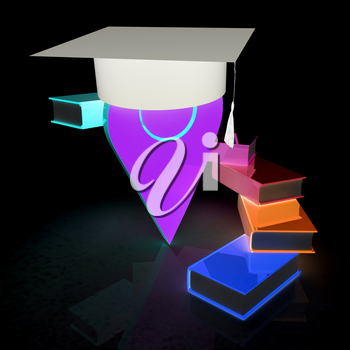 Pointer of education in graduation hat with books around. 3d illustration
