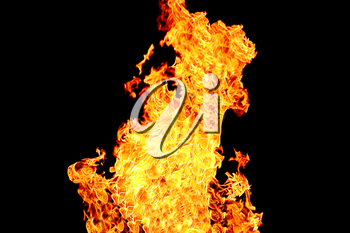 Image with red flame on the black background