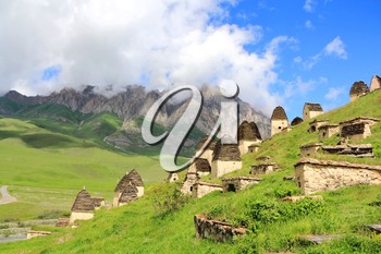 Image of dead town in Caucasus mountains