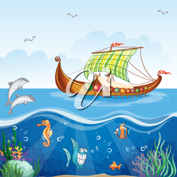 Royalty Free Clipart Image of a Ship and Underwater Life