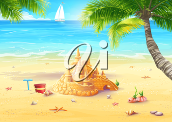 Royalty Free Clipart Image of a Sandcastle on a Beach