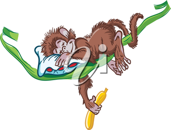 Royalty Free Clipart Image of a Monkey Sleeping on a Vine