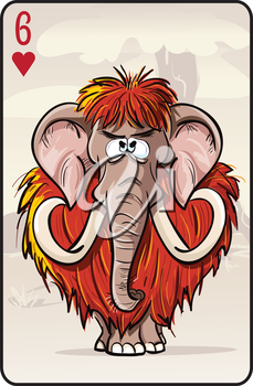 Royalty Free Clipart Image of a Woolly Mammoth on a Playing Card