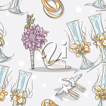 Royalty Free Clipart Image of a Wedding Background