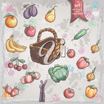 Royalty Free Clipart Image of a Wicker Basket With Food Around It