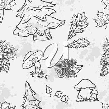 Seamless texture with the image of funny little animals, trees, fungi and leaves