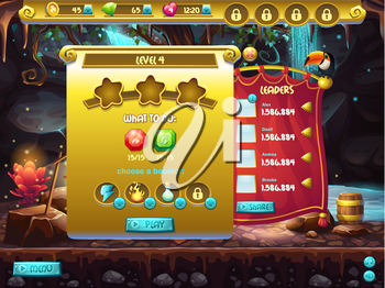 Example of user interface of a computer game, a screen to specify passage level