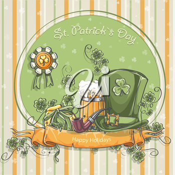 Greeting card for St. Patrick's Day with a picture of a hat, mug of beer and clover leaves