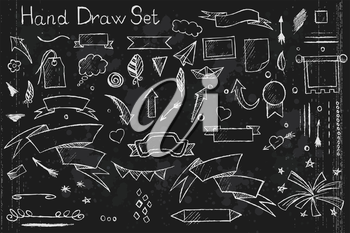A hand drown set on black background of pencil elements arrows, brushes, banners etc with white outlines