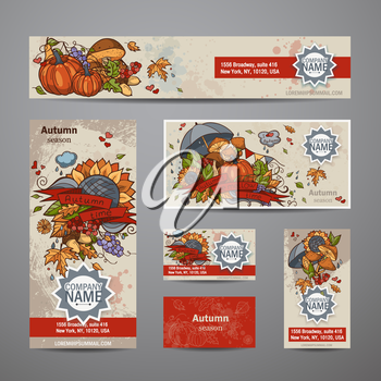 Vector illustration - set of autumn  flyers, cards, banners