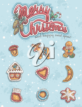 Merry Christmas greeting card with items