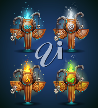 Set shaman totems - symbols of the four elements. The characters of the clan, tribe, vector illustration cartoon style. To create video games and web.