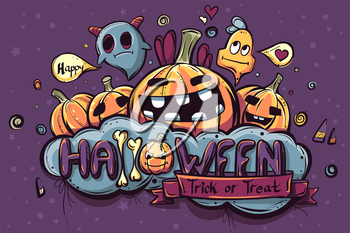 Colored hand drawn Halloween doodles - vector illustration