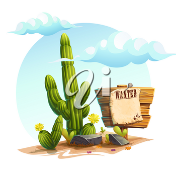 Vector cartoon illustration of a cactus, stones and a sign Wanted under the clouds. Background image for video web game user interface