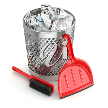 Cleaning concept.Garbage bin, dustpan or scoop and brush. 3d