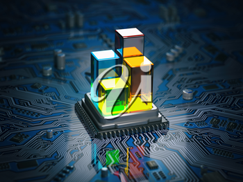 CPU processor with graph and diagram on the circuit board motherboard. Compare of speed level and cooling of CPU information technology  concept. 3d illustration
