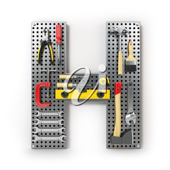 Letter H Alphabet from the tools on the metal pegboard isolated on white.  3d illustration