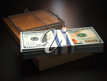 Mousetrap with dollar bills on black background.  Risk in business concept. 3d illustration