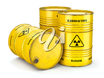 Barrels with radioactive waste isolated on white, Manufacturing of nuclear power and utilization of radioctive materials. 3d illustration