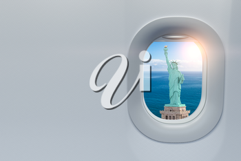 Airplane window with view on Statue of Liberty, New York, USA. Travel, tourism ando trip to USA concept. 3d illustration