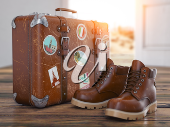 Welcome home, homecoming, travel and tourism concept. Vintage suitcase with old boots  in front of open door, 3d illustration