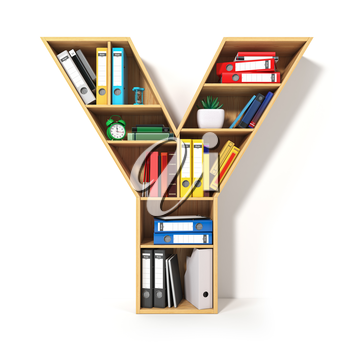 Letter Y. Alphabet in the form of shelves with file folder, binders and books isolated on white. Archival, stacks of documents at the office or library. 3d illustration