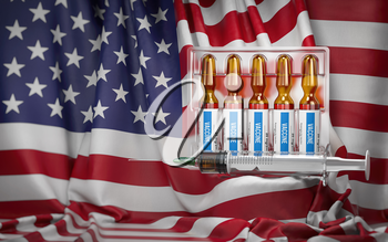 Vaccination in USA concept. Syrringe and vials with vaccine on USA  flag. 3d illustration