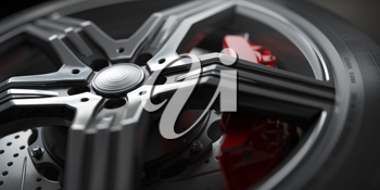Alloy car wheel with disk brakes close up background. 3d illustration