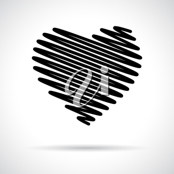Heart icon. Black flat symbol with shadow. Love concept