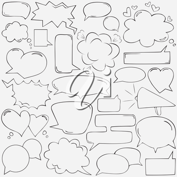 Speech bubbles with hearts and clouds, hand drawn. Vector illustration.