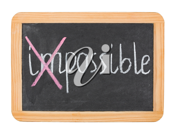 Possible caption on chalk board isolated on white