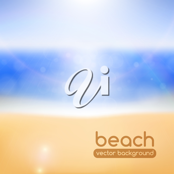 Blurred beach background, with bokeh and lens flare effects. Vector illustration.