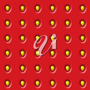 Seamless strawberry texture, red and yellow color scheme.