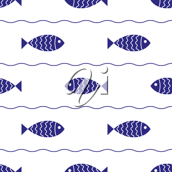 Seamless nautical pattern with fish. Design element for wallpapers, baby shower invitation, birthday card, scrapbooking, fabric print etc.