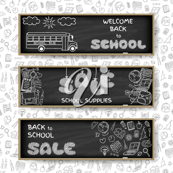 Doodle Back to School sale banners set on black chalk board background. Hand drawn education symbols on notebook paper. School supplies sale concept. Invitation template.  Vector illustration.