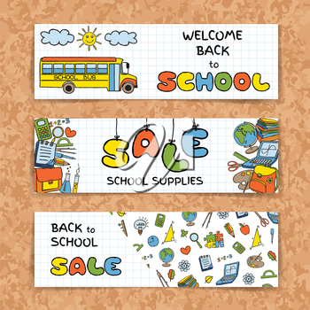 Doodle Back to School sale banners set on green chork board background. Hand drawn education symbols on notebook paper. School supplies sale concept. Invitation template.  Vector illustration.
