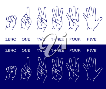 Counting hands showing different number of fingers. Graphic design element for teaching math to young children as school printout. Great for showing numbers on your design in a fun and creative way.