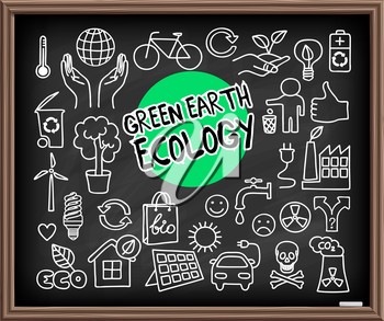 Green Earth Ecology doodle set. Hand drawn graphic elements on chalkboard. Hands holding planet Earth, energy saving light bulb, solar panel, factory air pollution, recycle bio and eco symbols. Vector