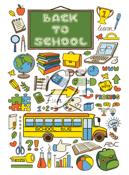 Doodle Back to School poster. Hand drawn stationary graphic design elements for school invitation, notebook cover, sale flyer, greeting card. Education supplies sale concept idea. Vector illustration
