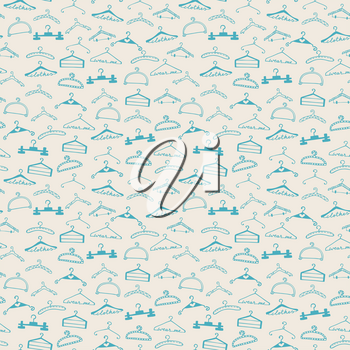 Doodle seamless clothes hangers pattern. Hand drawn cute sketchy style scribble. Graphic design element for scrapbook, fashion clothes shop web site, print, sale flyer, invitation. Vector illustration