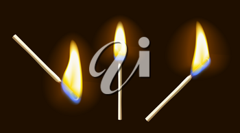 Realistic burning matchstick flame set with transparency, isolated on black background. Vector illustration