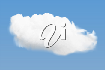 Realistic white cloud flying on blue sky background, vector illustration with transparency